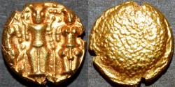 "World Coins - BRITISH INDIA, Madras Presidency: (c. 1691-1740) Gold ""3-swami"" pagoda, early type. SCARCE+SUPERB!"