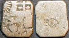Ancient Coins - INDIA, MAGADHA: Series IVd Silver punchmarked karshapana, GH 432. RARE and CHOICE!