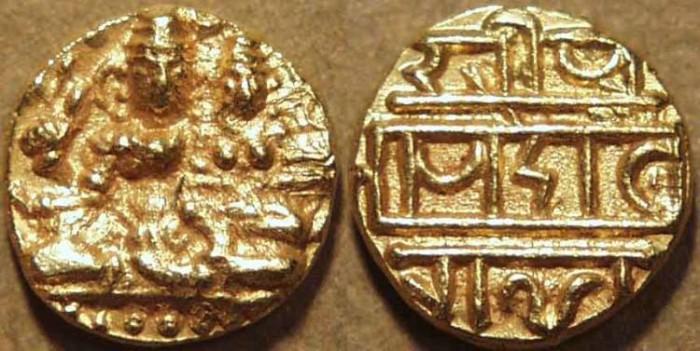 World Coins - INDIA, VIJAYANAGAR: Devaraya I or II Gold half pagoda, Siva-Parvati type, Siva with damaru. RARE + SUPERB!