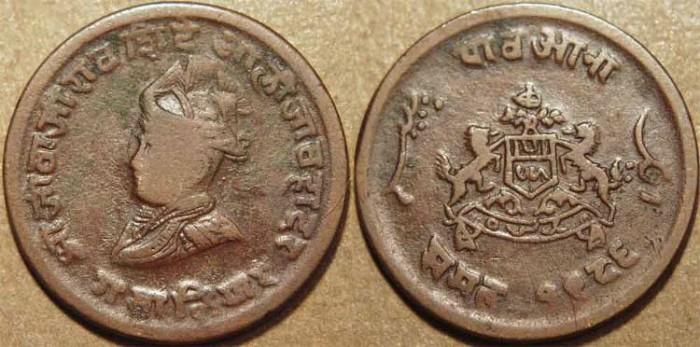 World Coins - INDIA, GWALIOR, Jivaji Rao (1925-48) Copper 1/4 anna, small coat of arms, VS 1986