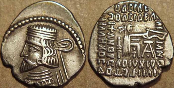 Ancient Coins - PARTHIA, VARDANES I (40-45 CE) Silver drachm, Ecbatana, Sell 64.31. SCARCE & CHOICE!