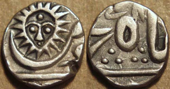 Ancient Coins - INDIA, INDORE, Silver 1/4 rupee in the name of Shah Alam II, Malharnagar mint, dated AH 1278. SUPERB!