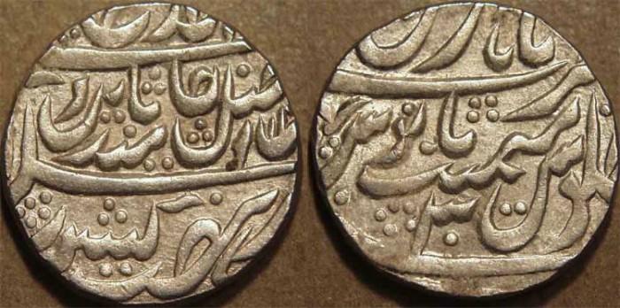 Ancient Coins - INDIA, MUGHAL, Shah Alam II (1759-1806) Silver rupee, issued by Madhoji Sindhia, Hathras, AH 12xx, RY 30. CHOICE+!
