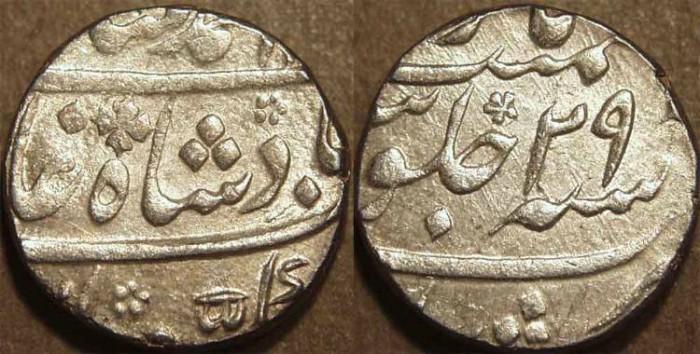 Ancient Coins - INDIA, MUGHAL, Muhammad Shah (1719-48): Silver rupee, Murshidabad, RY 29 CHOICE!