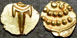 Ancient Coins - INDIA, MARATHAS of THANJAVUR: Anonymous Gold fanam, c. 1678-1800. CHOICE!