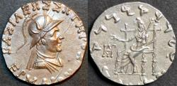 Ancient Coins - Indo-Greek: Hermaios AR tetradrachm, helmeted type. RARE LIFETIME ISSUE and SUPERB!
