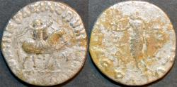 Ancient Coins - INDO-SCYTHIAN, AZES II Silver tetradrachm, Zeus left type, Senior 105.422T. BARGAIN-PRICED!