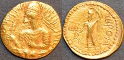 """Ancient Coins - INDIA, Kushan: Huvishka Gold dinar, Ahura Mazda """"Orom"""" reverse. RRR and SUPERB!"""