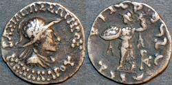 Ancient Coins - INDO-GREEK: Menander I Silver drachm, helmeted type, Bop 16E. CHOICE!