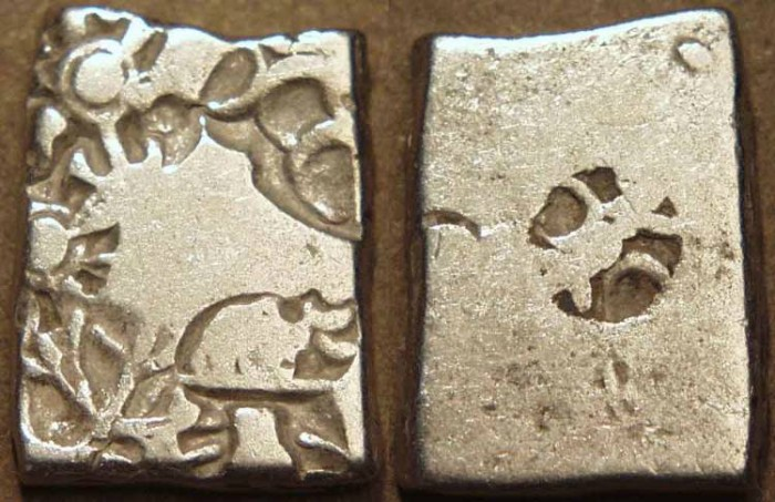 Ancient Coins - INDIA, MAURYA: Series VIb Silver punchmarked karshapana, GH 573. SUPERB!