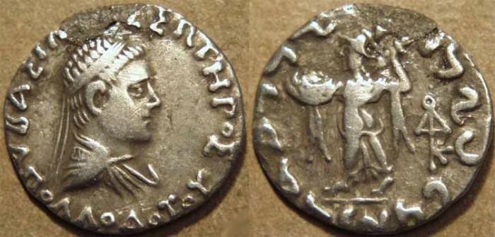 Ancient Coins - INDO-GREEK: Apollodotus II AR drachm. RARE variety with short legend, CHOICE!