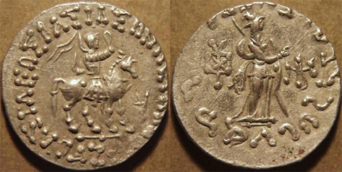 Ancient Coins - INDO-SCYTHIAN, AZES II Silver tetradrachm, Athena reverse, Senior 98.355T. CHOICE!