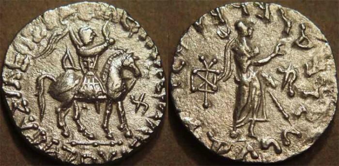 Ancient Coins - INDO-SCYTHIAN, AZES II Silver tetradrachm, Zeus right type, Senior 99.61. CHOICE!