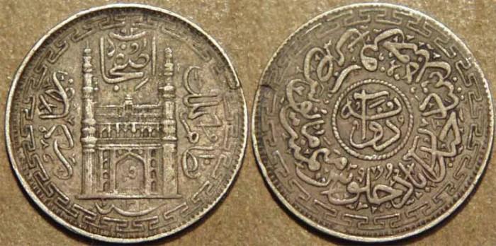 World Coins - INDIA, HYDERABAD, Mir Mahbub Ali Khan (1868-1911) Charminar Series Silver 2 annas (1/8 rupee), Hyderabad, AH 1322, RY 39. CHOICE!
