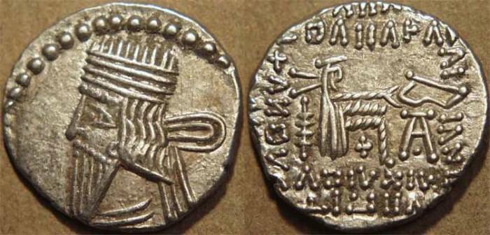 Ancient Coins - PARTHIA, VOLOGASES III (105-147 CE) Silver drachm, Ecbatana, Sell 78.3. CHOICE!