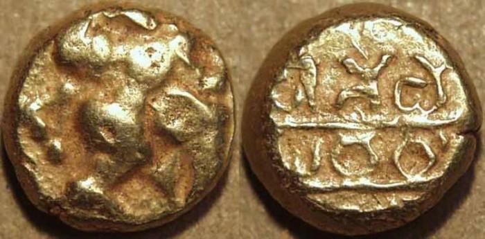 "World Coins - INDIA, Nidugal Cholas: Irungola II ""Danava Murari"" Gold pagoda, Hanuman type. RARE!"