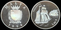 World Coins - 1994 Malta 5 Liri Silver Proof