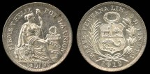 World Coins - 1912 FG Peru 1/2 Dinero BU