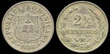 World Coins - 1888 A Dominican Republic 2-1/2 Centavos XF