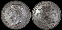 World Coins - 1875 (75) DE-M Spain 5 Peseta - Alfonso XII - AU
