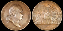 World Coins - 1823 France - Louis XVIII - Entry of the Duke of Angouleme in Paris by Bertrand Andrieu, Raymond Gayrard and Jean Pièrre Casimir de Puymaurin
