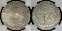 "World Coins - 1837 CUZCO BA Peru 8 Reales - ""Sun Face"" -  NGC AU"