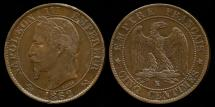World Coins - 1862 K France 5 Centimes XF