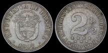 "World Coins - 1907 Panama 2-1//2 Centesimos - ""Dos Y Medios"" - AU"