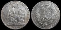 World Coins - 1885 TD Peru 1 Sol XF