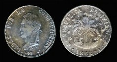 World Coins - 1862 FP-PTS Bolivia 8 Soles XF