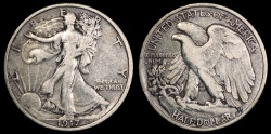 Us Coins - 1917 P Walking Liberty Half Dollar VF