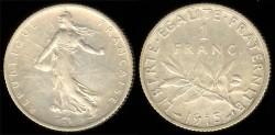 World Coins - 1915 France 1 Franc AU