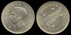 "World Coins - 1949 New Zealand Crown ""Proposed Royal Visit Silver Commemorative"" BU"