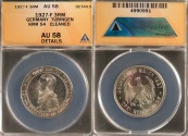 World Coins - 1927 F Weimar Republic 3 Reichsmark - 450th Anniversary - Tubingen University Silver Commemorative ANACS AU58