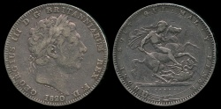 World Coins - 1820 LX Great Britain 1 Crown - George III - VF