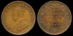 World Coins - 1936 India (British) 1/4 Anna XF