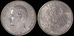 World Coins - 1904 D Germany - Bavaria 5 Mark - Otto Koenig - AU Silver
