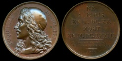 World Coins - 1816  France - Jean-Baptiste Poquelin de Moliere (Playwright and Stage Manager) by Raymond Gayrard for the Galerie Metallique des Grands Hommes Francais