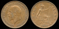 World Coins - 1935 Great Britain 1/2 Penny AU