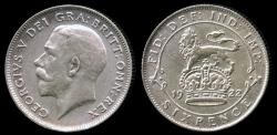 World Coins - 1922 Great Britain 6 Pence AU