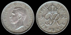 World Coins - 1952 Great Britain 6 Pence AU