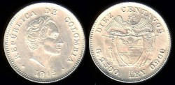 World Coins - 1942 Colombia 1 Real AU