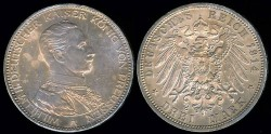 World Coins - 1914 A Prussia 3 Mark AU