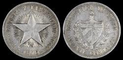 "World Coins - 1915 Cuba 20 Centavos ""Fine Reeding - High Relief Star"" XF"