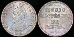 World Coins - 1907 Panama 1/2 Centesimos - Vasco Núñez de Balboa - BU