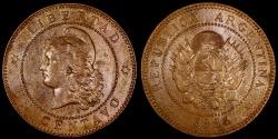 World Coins - 1884 Argentina 1 Centavos AU