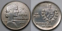 """World Coins - 1939 Cuba 1 Peso - """"ABC"""" Peso - AU Silver"""