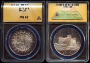 World Coins - 1975 Malta 4 Pounds (Silver) - Saint Agatha's Tower at Gammieh (Only 2,000 Struck) ANACS MS67