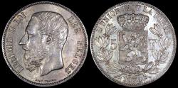 World Coins - 1870 Belgium 5 Francs - Leopold II - Position A - AU