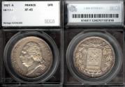 World Coins - 1821 A France 5 Francs - Louis XVIII - Paris Mint - Second Kingdom - SEGS XF45